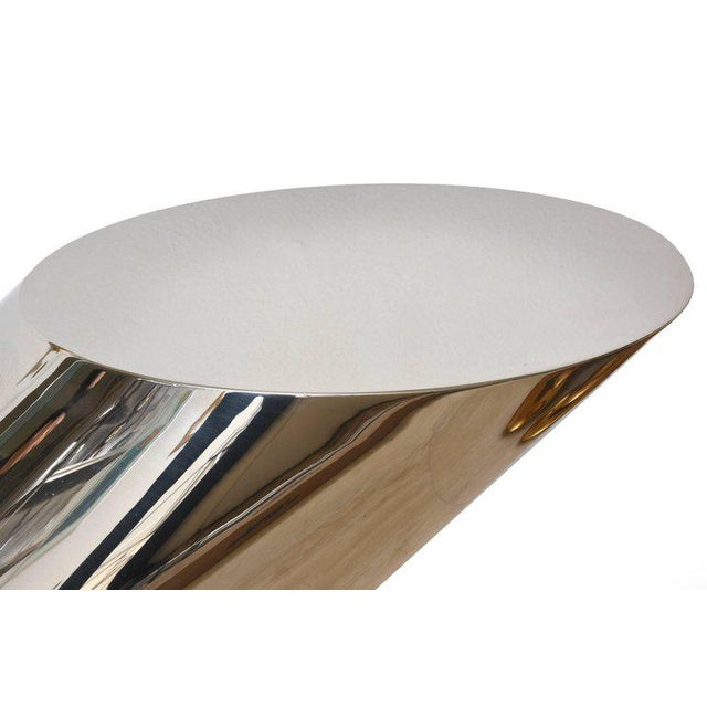 Silver Zephyr J. Wade Beam for Brueton Stainless Steel Angled Sculptural Side Table For Sale - Image 8 of 10