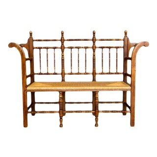Vintage Tallback Country Oak Rush Seating Entry Bench For Sale
