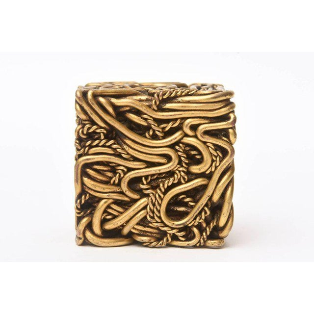 Gold Pair of Signed Yasca Bronze Twisted Square Cube Sculptures For Sale - Image 8 of 11
