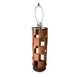 Mid Century Modern Walnut Lamp With Brass Hardware For Sale