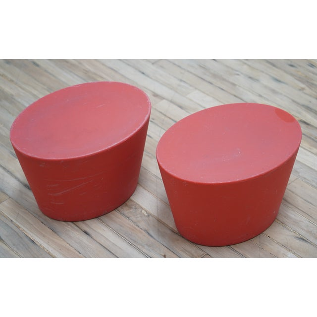 2 Maya Lin for Knoll Studio Outdoor Child's Seats Design Maya Lin, 1998 Molded polyethylene Made in USA by Knoll Warm Red...