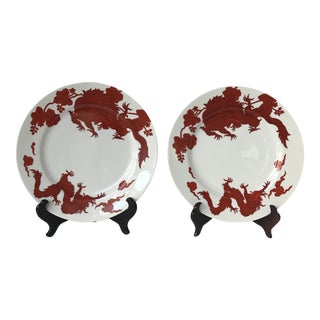 Fitz & Floyd Coral Temple Dragon Plates - a Pair For Sale