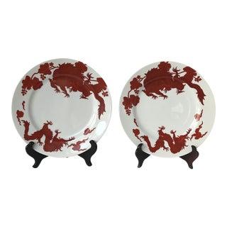 Fitz & Floyd Crimson Temple Dragon Plates - a Pair For Sale