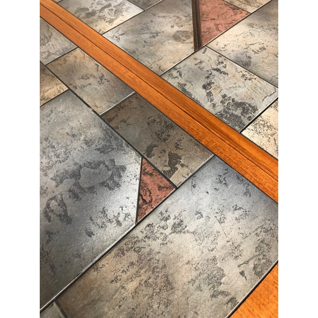 Danish Teak and Tile Extending Dining Table Seats 10 For Sale - Image 4 of 13