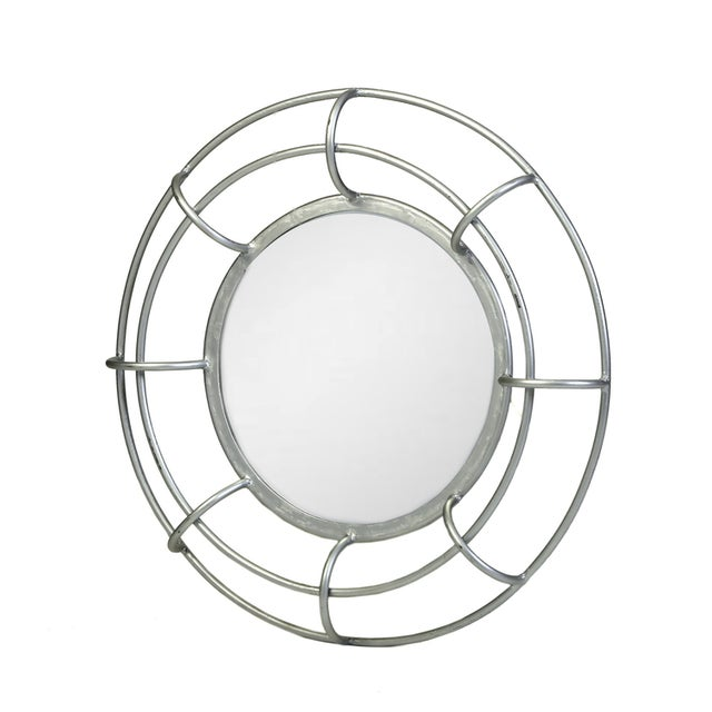 Silver Leaf Round Wire Frame Mirror For Sale