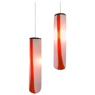Single 1970s Italian Tube Pendant Lights by Vistosi - a Pair For Sale