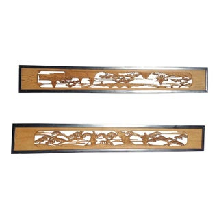Late 19th Century Antique Japanese Ranma (Transom) Carved Panels - a Pair For Sale