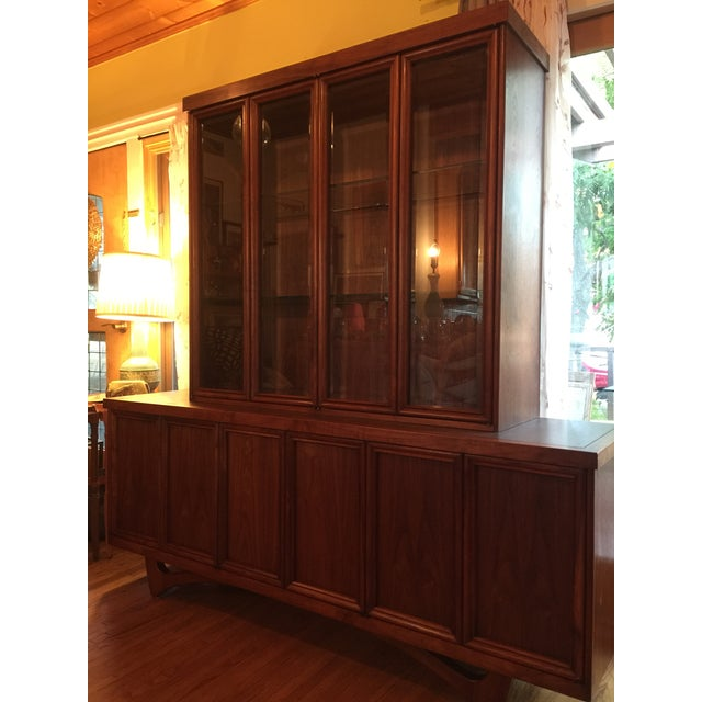 1960s Mid-Century Modern Walnut Credenza Hutch For Sale - Image 4 of 13