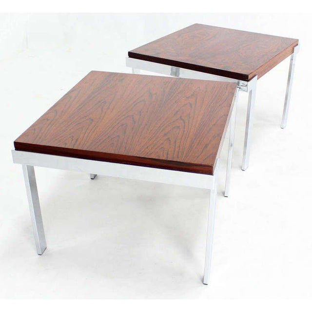 Silver Pair of Baughman Rosewood & Chrome Mid-Century Modern End Tables For Sale - Image 8 of 8