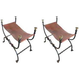 Pair of 19th Century Iron and Leather Benches