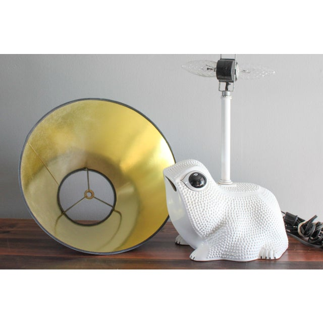 Vintage Italian White Ceramic Hobnail Frog Lamp With Hand Painted Shade in the Style of Jean Roger For Sale - Image 6 of 11
