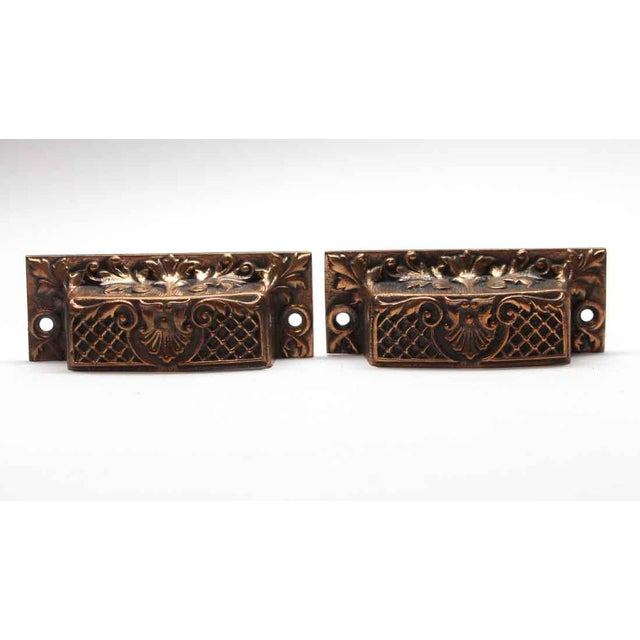 Metal Antique French Bronze Drawer Bin Pulls - a Pair For Sale - Image 7 of 7