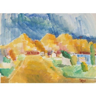 Jennings Tofel Expressionist Desert Landscape, Watercolor, Mid 20th Century For Sale