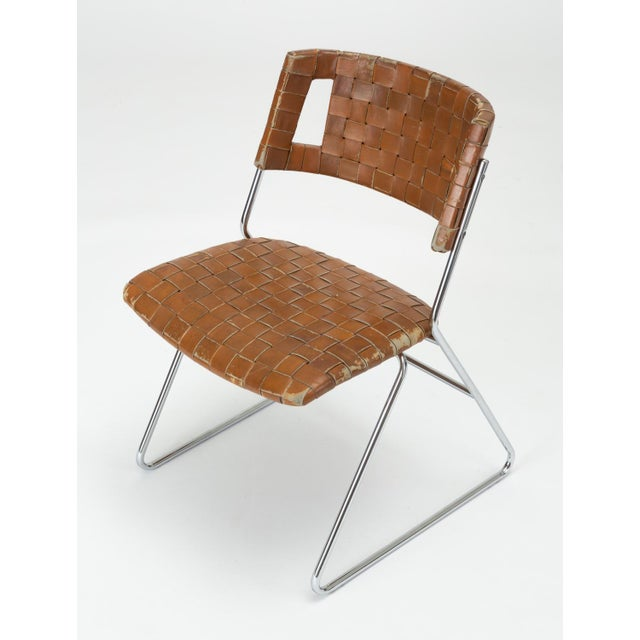 1970s Set of Four Dining Chairs With Woven Leather Upholstery by Chromcraft For Sale - Image 5 of 13