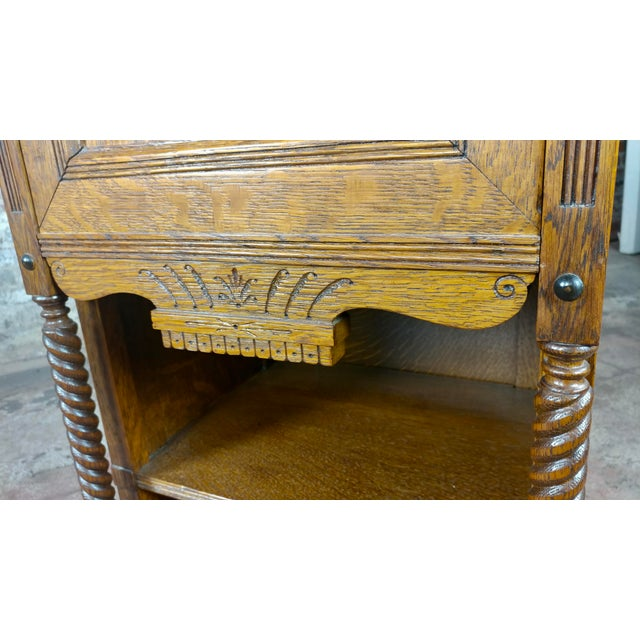Brown Antique Victorian Oak Cabinet W/Hidden Jewelry Safe -Rare For Sale - Image 8 of 11