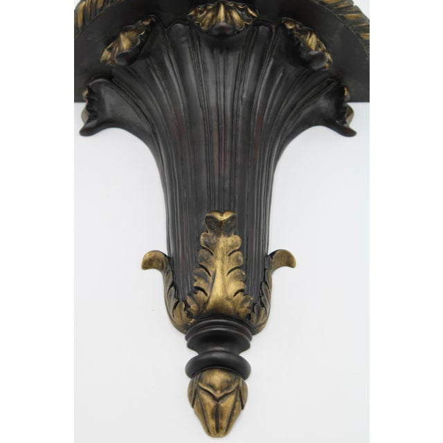 Large Black and Gold Acanthus Leaf Wall Shelf For Sale In Tulsa - Image 6 of 11