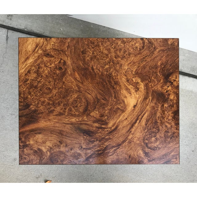 Brown Faux Burl and Brass Accent Table For Sale - Image 8 of 10