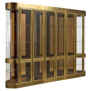 Impressive Set of Brass Display or Vitrine Cabinets by Mastercraft For Sale