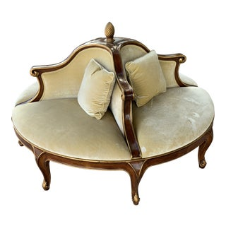 Early 21st Century Vintage C.Mariani French Conversation Settee Round Sofa For Sale