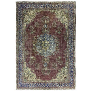 Distressed Vintage Turkish Carpet 7'9 X 11'6 For Sale