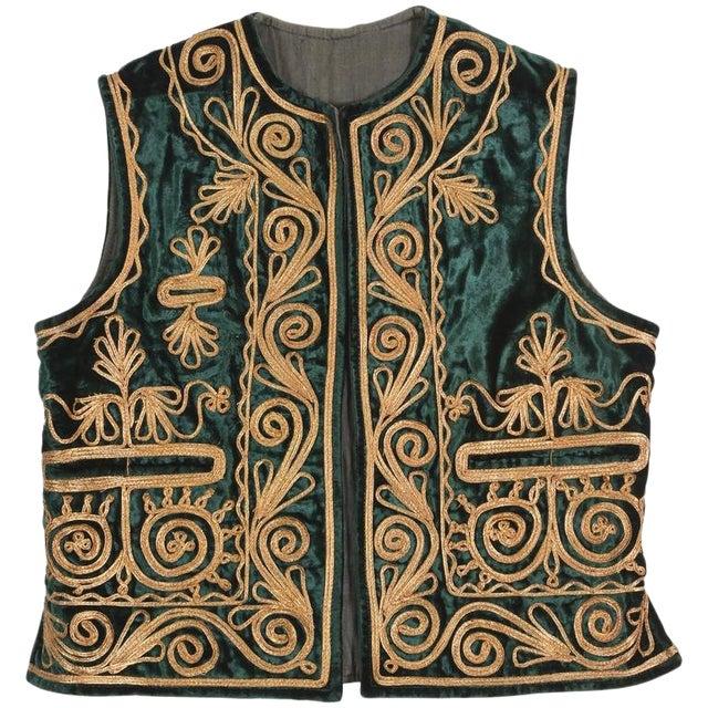 Authentic Ottoman Turkish Vest in Green Velvet For Sale