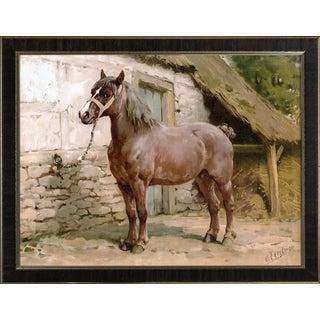 Ardenner Horse by Eerelman Framed in Italian Wood Vener Moulding For Sale