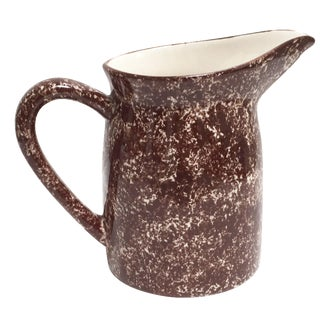 Vintage Brown Spongeware Pitcher by LA Potteries