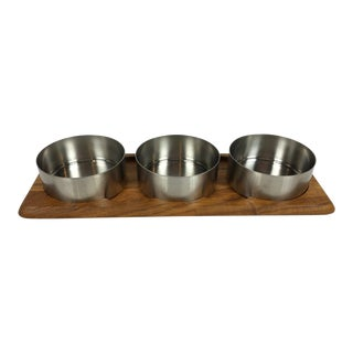 Arne Jacobsen & Peter Holmblad Cylinda Serving Wood Tray & Steel Bowls For Sale