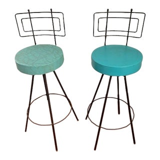 Mid-Century Modern Bar Stools With Swivel Seats - A Pair For Sale