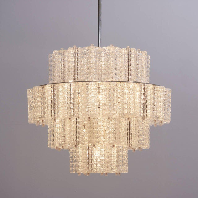 Transparent One of six Huge and Rare Glass Chandeliers by Austrolux For Sale - Image 8 of 8