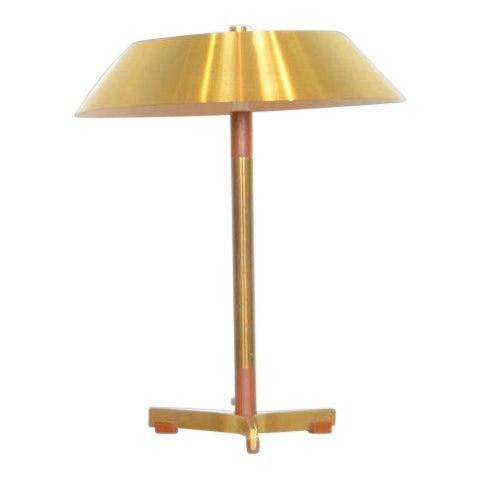 Jo Hammerborg President Brass and Teak Table Lamp For Sale
