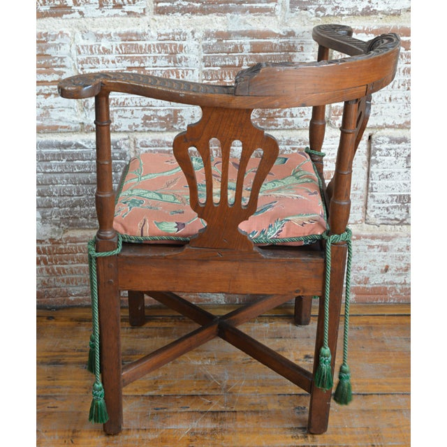 19th Century Carved Elm Corner Chair For Sale In Greenville, SC - Image 6 of 13
