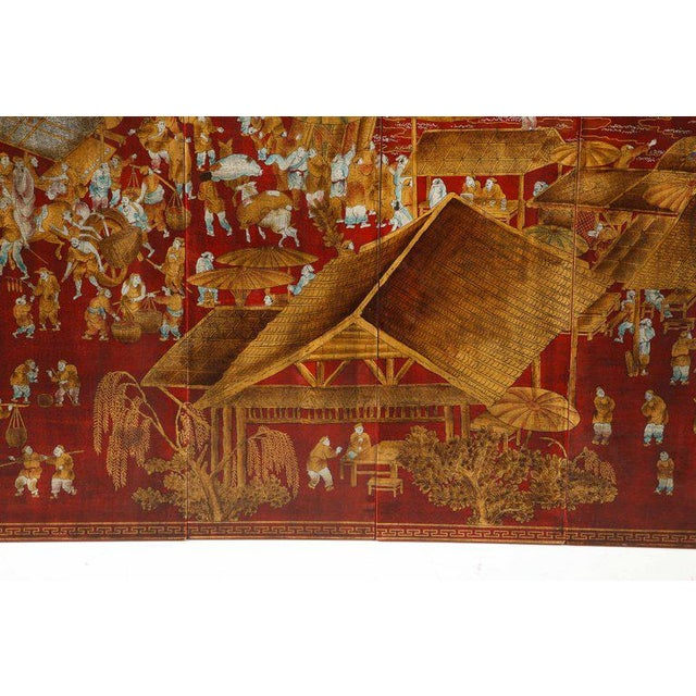 Gold Chinoiserie Red Lacquered Panels - Set of 6 For Sale - Image 7 of 12