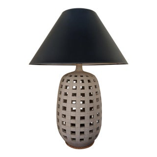 Ethan Allen Bisque Openwork Cement Lattice Table Lamp For Sale