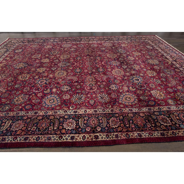 This beautiful Antique Distressed Persian Mashad Rug hand-knotted design rug will make your floor look splendid. This...