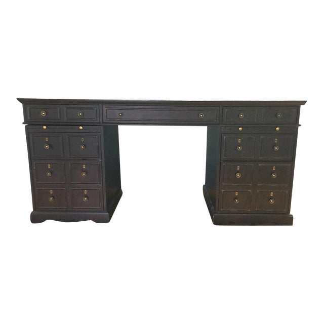 Dark Brown Wooden Desk - Image 1 of 9
