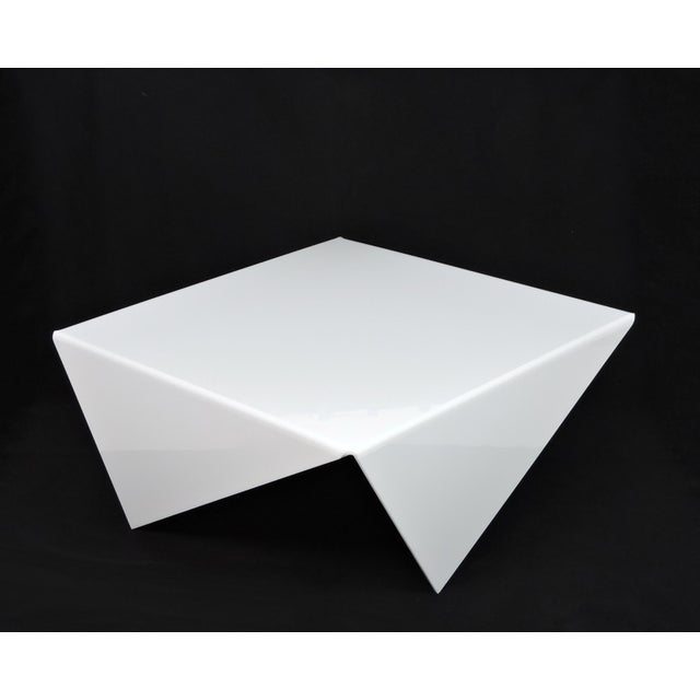 Mid-Century Modern Bertin France Mouchoir Style White Acrylic Coffee Table For Sale - Image 4 of 10