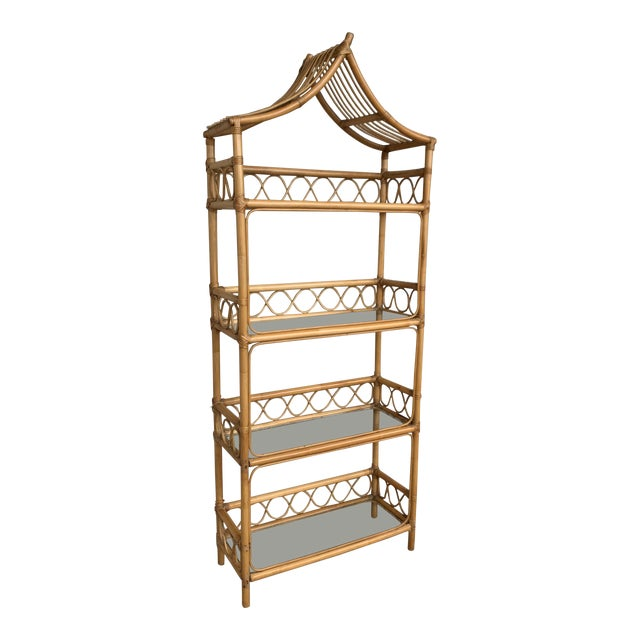 Image of 20th Midcentury Bamboo and Glass Étagère, Pagoda Style. Four Shelves