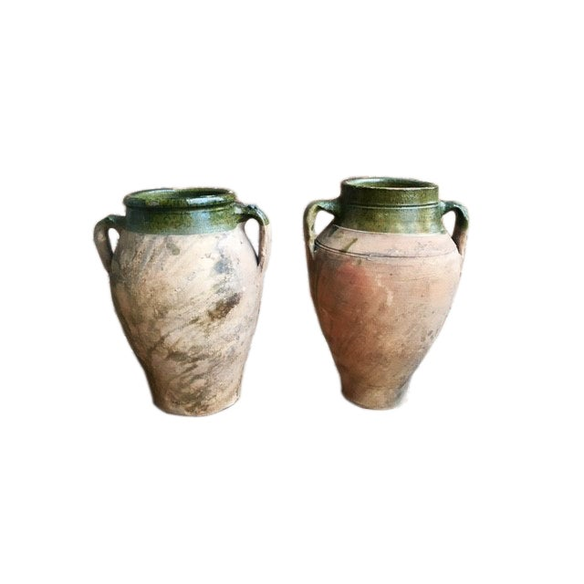 Ceramic Vintage Glazed Terracotta and Green Olive Jars - a Pair For Sale - Image 7 of 11