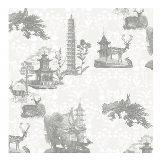 Mitchell Black Home 'Pagoda Toile' Wallpaper Remnant