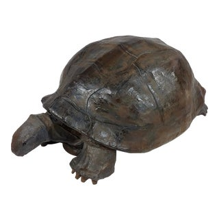 Vintage Paper Mache Galapagos Turtle Sculpture For Sale