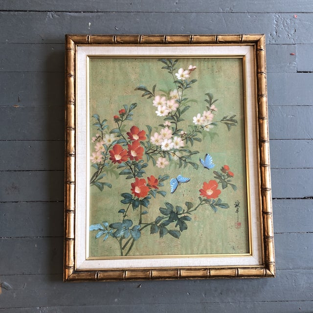 1960s Vintage Original Chinese Floral Painting With Butterflies Original Frame For Sale - Image 5 of 5