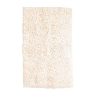 "Vintage Mid Century Small Beige Wool Shag Rug - 4' X 6'3"" For Sale"