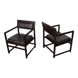 Pair of Mahogany and Leather Armchairs by Edward Wormley for Dunbar