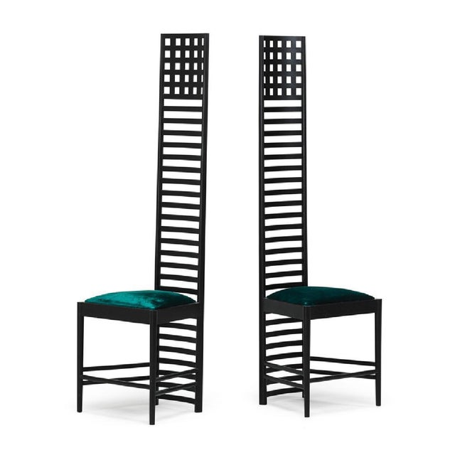 CHARLES RENNIE MACKINTOSH (1868 - 1928) CASSINA Two Hill House chairs, Italy, 1980s Ebonized ash, upholstery Manufacturer...