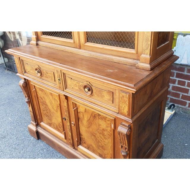 Mid 19th Century Antique 19th Century Palatial Size Burl Walnut Eastlake Victorian Butler's Secretary Desk C1860 For Sale - Image 5 of 13