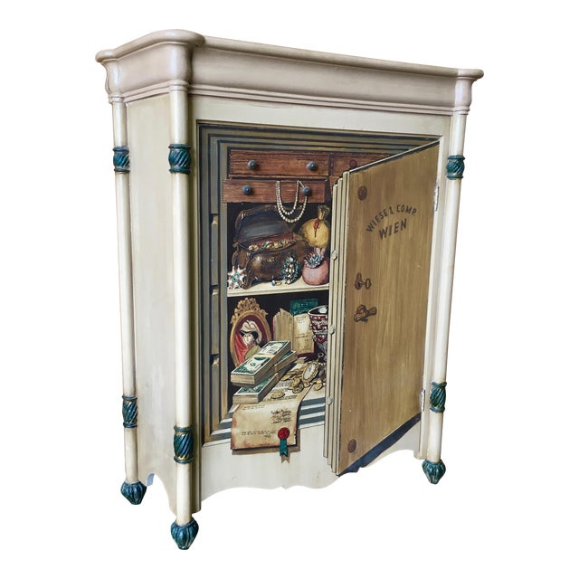 "20th Century Italian Palladio ""Trompe L'oeil"" Hand Painted Wood Cabinet For Sale"