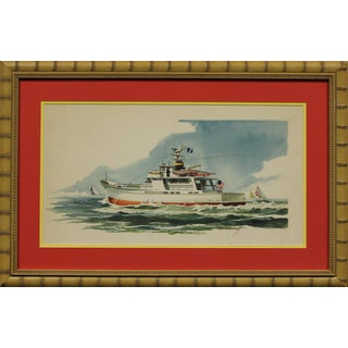 """""""Private Yacht"""" Watercolor For Sale"""