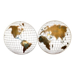 Mid Century Brutalist Brass Map Globe Wall Art For Sale
