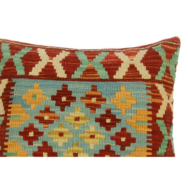 """Christee Red/Lt. Blue Hand-Woven Kilim Throw Pillow(18""""x18"""") For Sale - Image 4 of 6"""